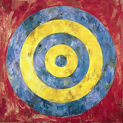 "Jasper Johns, ""Target,"" 1961. Encaustic and collage on canvas, 66 x 66 inches. Stefan T. Edlis Collection. Art © Jasper Johns /  Licensed by VAGA, New York, NY Image"