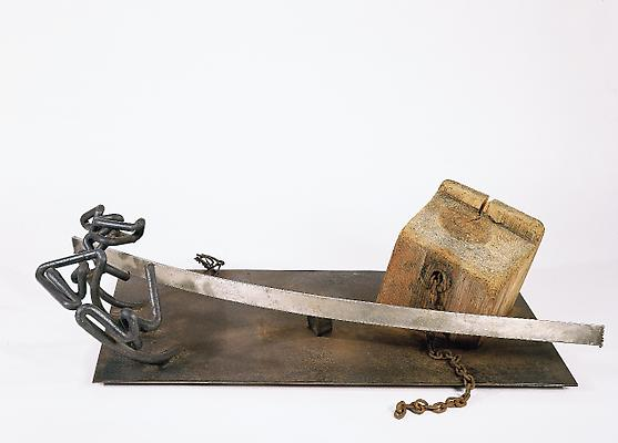 "Mark di Suvero, ""Silver Bow,"" 1962.  Wood, iron and steel, 16 x 58 x 28 inches.  Private Collection. Image"