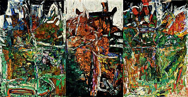 "Jean Paul Riopelle, ""Les Picandeaux"" 1967 Oil on canvas in three panels 77 x 147 inches (195 x 374 cm) Image"