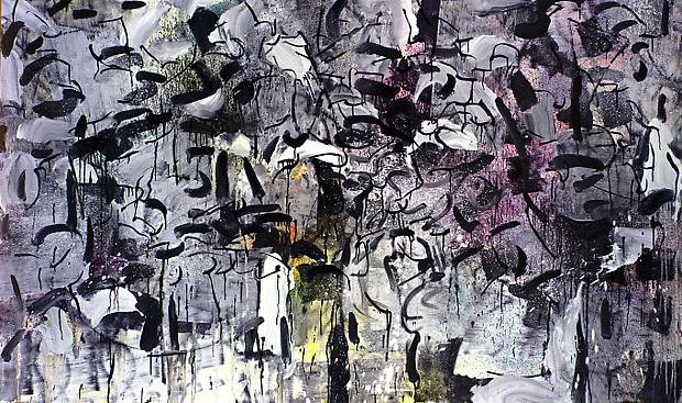 "Jean Paul Riopelle, ""Grey and Black Streaks"" 1964 Mixed media on paper laid down on canvas 54 x 89 inches (137 x 226 cm) Image"
