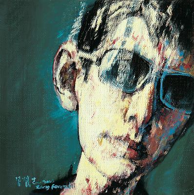 """Zeng Fanzhi, """"Portrait 08-7-6""""  2008 Oil on canvas 10 5/8 x 10 5/8 inches (27 x 27 cm) Image"""