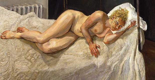 "Lucian Freud, ""Ria, Naked Portrait,"" 2006-7 Oil on canvas, 34 x 64 inches Image"