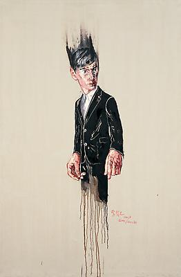 """Zeng Fanzhi, """"Portrait 08-1-5"""" 2008 Oil on canvas 86 5/8 x 57 1/8 inches (220 x 245 cm) Image"""