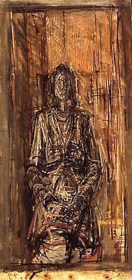 """ALBERTO GIACOMETTI """"Portrait de Femme"""" 1949 Oil on canvas laid down on board 17 3/4 x 8 3/8 inches (45 x 21.5 cm) Image"""