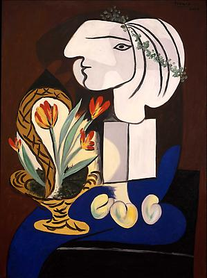 "Pablo Picasso, ""Still Life with Tulips,"" March 2, 1932 Oil on canvas, 51 1/8 x 38 1/4 inches Private Collection Image"