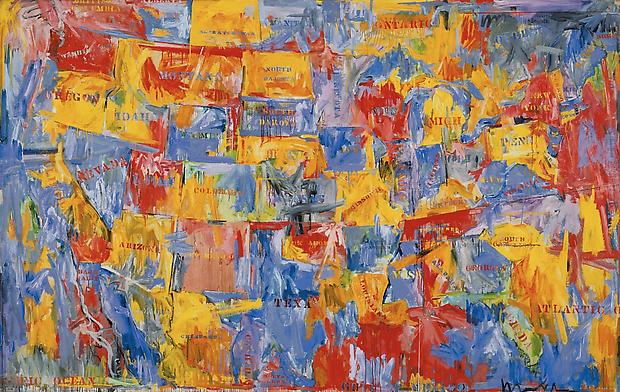 Jasper Johns, &quot;Map,&quot; 1961. Oil on canvas, 78 x 123 1/8 inches. The Museum of Modern Art, New York.  Gift of Mr. and Mrs. Robert C. Scull, 1963. Digital Image  The Museum of Modern Art / Licensed by SCALA / Art Resource, NY / Art  Jasper Johns / Licensed by VAGA, New York, NY Image
