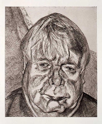 "Lucian Freud, ""Donegal Man,"" 2007 Etching on Somerset white paper, edition of 46, 26 1/4 x 22 1/4 inches"