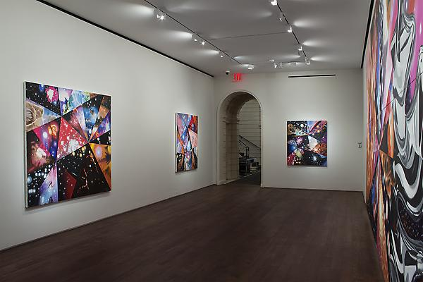 "Installation of James Rosenquist, ""Multiverse You Are, I Am"" exhibition at Acquavella Galleries, September 10 - October 13, 2012. Left to right: ""Super Mega Universes"", ""Meta Universe"", ""Quantum Universe"", ""Geometry of Fire"" Image"