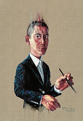 """Zeng Fanzhi, """"Self-Portrait""""  2008 Oil on canvas 42 7/8 x 29 1/2 inches (109 x 75 cm) Image"""