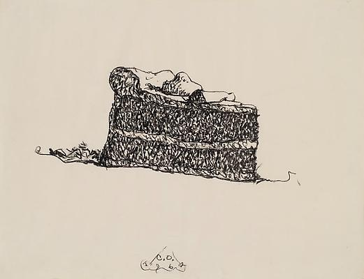 "Claes Oldenburg, ""Cake Wedge,"" 1962. Crayon on paper, 25 x 32 inches. Courtesy The Brant Foundation, Inc., Greenwich, CT. Copyright 1962 Claes Oldenburg Image"
