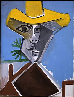 "Pablo Picasso, ""Buste d'Homme"" 1969 Oil on canvas 45 5/8 x 35 inches Image"