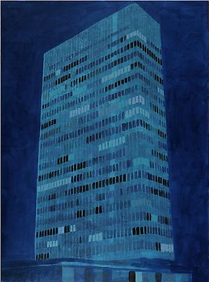 "Enoc Perez, ""Lever House, NY"" May 2010, Oil on canvas 80 x 60 inches Image"