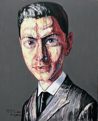 """Zeng Fanzhi, """"Portrait 08-12-7""""  2008 Oil on canvas 17 7/8 x 14 5/8 inches (45.5 x 37 cm) Image"""