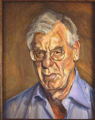 "Lucian Freud, ""New Yorker in a Blue Shirt,"" 2005 Oil in canvas, 28 x 22 inches Image"