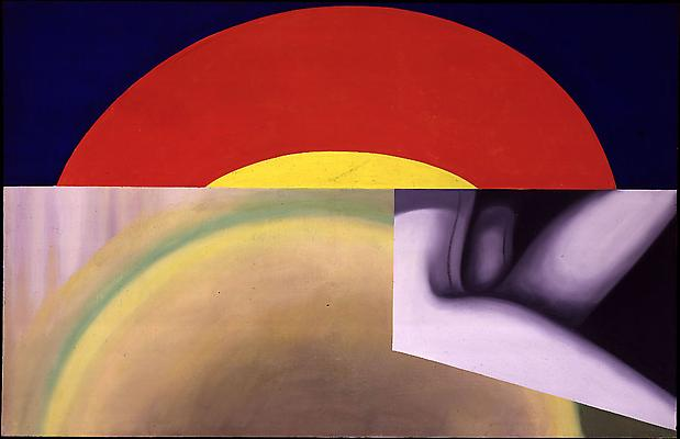 "James Rosenquist, ""Brighter than the Sun"" 1961 Oil on canvas 57 x 90 inches"