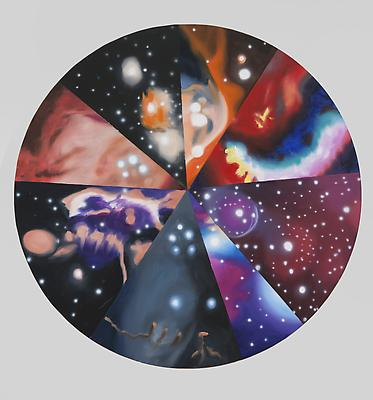 "James Rosenquist, ""Alternative Realities"" 2012 Oil on canvas 48 inches diameter Art © James Rosenquist / Licensed by VAGA, New York, NY Image"