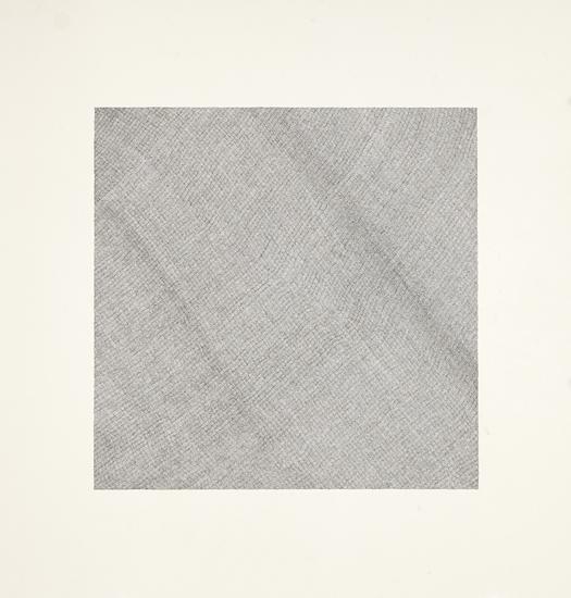 "Jacob El Hanani, ""Crosshatched Dish Towel"", 1998 Ink on paper, 20 5/8 x 20 5/8 inches Art © Jacob El Hanani"