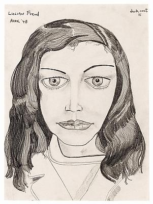 "Lucian Freud, ""Dark Coat II"" 1948 Pencil on paper 11 3/8 x 8 3/8 inches (28.8 x 21.4 cm) Private Collection © The Lucian Freud Archive Photo © The Lucian Freud Archive Image"