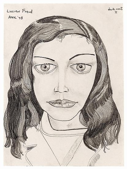 "Lucian Freud, ""Dark Coat II"" 1948 Pencil on paper 11 3/8 x 8 3/8 inches (28.8 x 21.4 cm) Private Collection © The Lucian Freud Archive Photo © The Lucian Freud Archive"