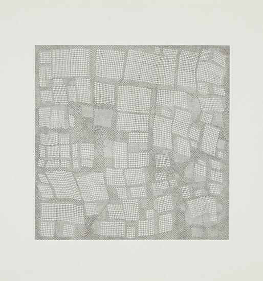 "Jacob El Hanani, ""Dish Towel Square"", 2003 Ink on paper, 18 x 18 inches Art © Jacob El Hanani"