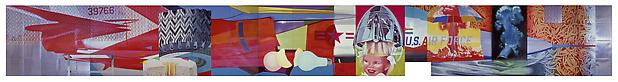 "James Rosenquist, ""F-111"" 1964-65. Oil on canvas with aluminum, twenty-three sections, 10 x 86' (304.8 x 2621.3 cm). Gift of Mr. and Mrs. Alex L. Hillman and Lillie P. Bliss Bequest (both by exchange). © 2011 James Rosenquist/Licensed by VAGA, New York, NY Image"