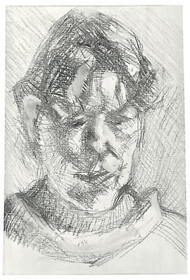"Lucian Freud, ""Dark Haired Neighbour"" 2010 Charcoal on primed linen 15 1/2 x 10 3/4 inches (39.4 x 27.3 cm) Acquavella Galleries © The Lucian Freud Archive Image"