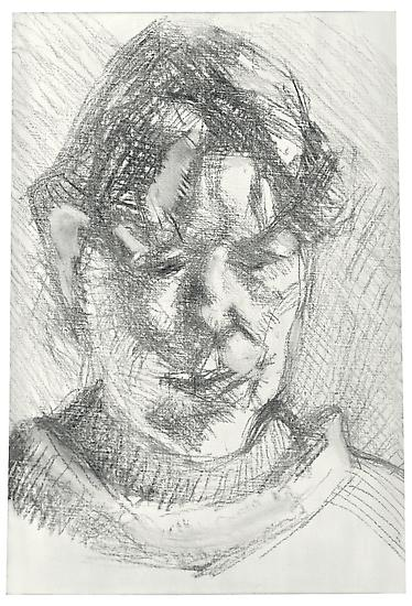 "Lucian Freud, ""Dark Haired Neighbour"" 2010 Charcoal on primed linen 15 1/2 x 10 3/4 inches (39.4 x 27.3 cm) Acquavella Galleries © The Lucian Freud Archive"