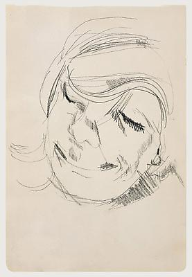 "Lucian Freud, ""Head of a Woman Laughing"" 1954 Crayon on paper, 10 3/8 x 7 in. (26.3 x 17.8 cm) Matthew Marks Gallery © The Lucian Freud Archive  Photo © Matthew Marks Gallery, New York Image"