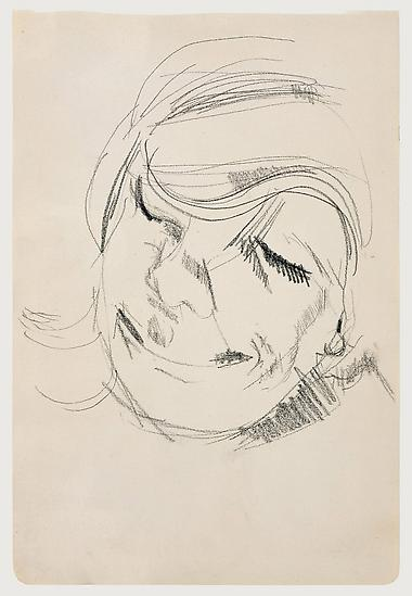 "Lucian Freud, ""Head of a Woman Laughing"" 1954 Crayon on paper, 10 3/8 x 7 in. (26.3 x 17.8 cm) Matthew Marks Gallery © The Lucian Freud Archive  Photo © Matthew Marks Gallery, New York"