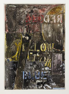 "Jasper Johns, ""Land's End"", 1977 Ink and watercolor on plastic 36 1/4 x 25 3/8 inches Art © Jasper Johns / Licensed by VAGA, New York, NY Image"