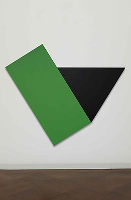"Ellsworth Kelly, ""Green with Black Triangle"", 1974, oil on canvas, 78 x 93 1/4 inches Image"