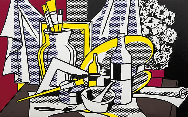 "Roy Lichtenstein, ""Still Life with Palette"", 1972. Oil and Magna on canvas, 60 x 95 5/8 inches (152.4 x 242.9 cm). Acquavella Galleries. Art © Estate of Roy Lichtenstein Image"
