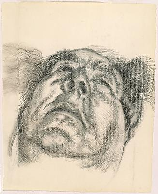 "Lucian Freud, ""Arnold Abraham Goodman, Baron Goodman"" 1985 Charcoal on paper 13 x 10 1/2 inches (33 x 26.7 cm) National Portrait Gallery, London © The Lucian Freud Archive Photo © Lucian Freud Archive Image"