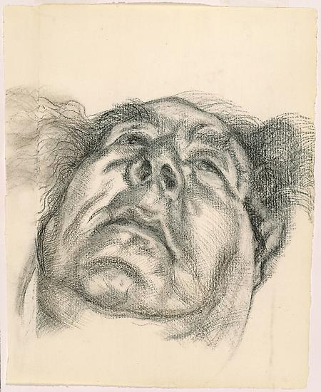 "Lucian Freud, ""Arnold Abraham Goodman, Baron Goodman"" 1985 Charcoal on paper 13 x 10 1/2 inches (33 x 26.7 cm) National Portrait Gallery, London © The Lucian Freud Archive Photo © Lucian Freud Archive"