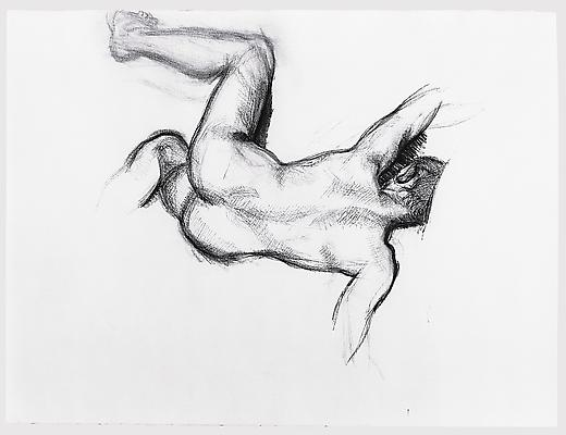 "Lucian Freud, ""Naked Man on a Sofa"" 1989 Charcoal on paper 22 3/8 x 29 7/8 inches (56.8 x 75.9 cm) Aaron I. Fleischman © The Lucian Freud Archive Image"