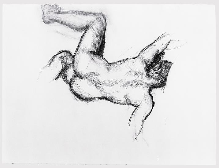 "Lucian Freud, ""Naked Man on a Sofa"" 1989 Charcoal on paper 22 3/8 x 29 7/8 inches (56.8 x 75.9 cm) Aaron I. Fleischman © The Lucian Freud Archive"