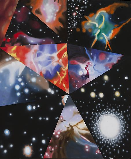 "James Rosenquist, ""Parallel Worlds"" 2012 Oil on canvas 63 1/2 x 52 1/2 inches Art © James Rosenquist / Licensed by VAGA, New York, NY"