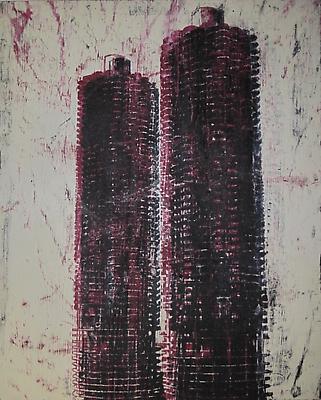 "Enoc Perez, ""Marina Towers, Chicago"" 2011 Oil on canvas, 100 x 80 inches"