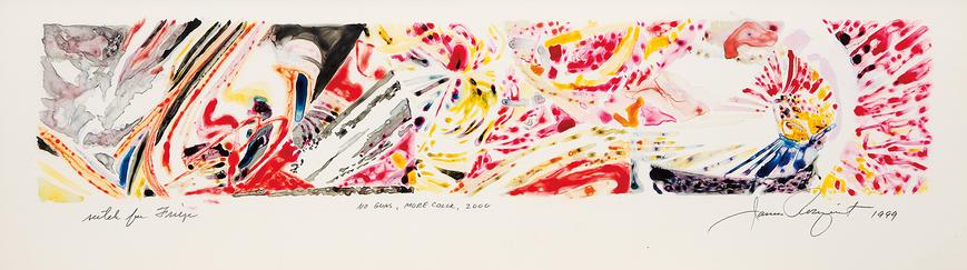 "James Rosenquist, ""No Guns, More Color,"" 1999 Colored ink on frosted mylar 11 ½ x 34 1/8 inches  Art © James Rosenquist / Licensed by VAGA, New York, NY"