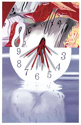 "James Rosenquist, ""The Hole in the Center of the Clock: Time Keeper"" 2008 Oil on canvas with wooden dowels 84 x 54 x 9 inches (213 x 137 x 23 cm) Image"