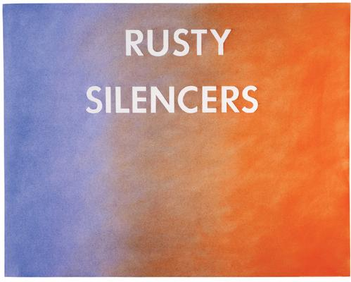 "Ed Ruscha, ""Rusty Silencers,"" 1979 Pastel and graphite on Grumbacher paper 23 1/8 x 29 1/8 inches Art © 2015 Ed Ruscha Image"