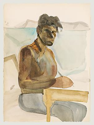 "Lucian Freud, ""Self-Portrait"" 1961 Watercolor on paper 13 5/8 x 9 3/4 inches (34.6 x 24.8 cm) Josh Conviser and Martine Conviser Fedyszyn © The Lucian Freud Archive Photo Jason Dewey Image"