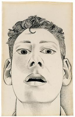 "Lucian Freud, ""Startled Man: Self-Portrait"" 1948 Pencil on paper 9 x 5 5/8 inches (22.9 x 14.3 cm) Private Collection © The Lucian Freud Archive Photo © Lucian Freud Archive Image"