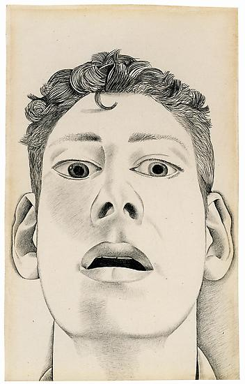 "Lucian Freud, ""Startled Man: Self-Portrait"" 1948 Pencil on paper 9 x 5 5/8 inches (22.9 x 14.3 cm) Private Collection © The Lucian Freud Archive Photo © Lucian Freud Archive"