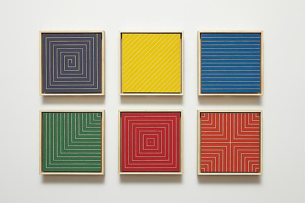 "Frank Stella, ""Benjamin Moore Paintings (New Madrid, Sabine Pass, Palmito Ranch, Hampton Roads, Island No. 10, Delaware Crossing), 1961, Alkyd on canvas in six parts, each canvas 12 x 12 inches Image"