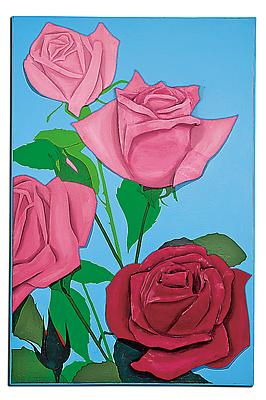 "Marjorie Strider, ""Red' Roses"", 1962. Carved wood over Masonite panel painted over with acrylic, 63 x 41 7/8 x 7 inches. Courtesy of Hollis Taggart Galleries. Image"
