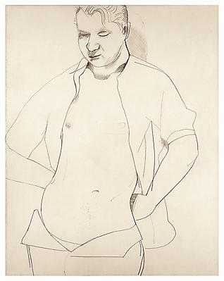 "Lucian Freud, ""Study of Francis Bacon"" 1951 Crayon and chalk on paper 12 1/2 x 16 1/2 inches (54.7 x 42 cm) Private Collection © The Lucian Freud Archive Photo © Lucian Freud Archive Image"