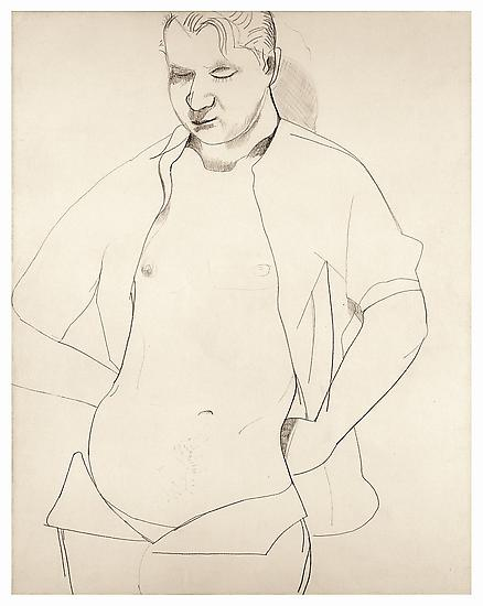 "Lucian Freud, ""Study of Francis Bacon"" 1951 Crayon and chalk on paper 12 1/2 x 16 1/2 inches (54.7 x 42 cm) Private Collection © The Lucian Freud Archive Photo © Lucian Freud Archive"