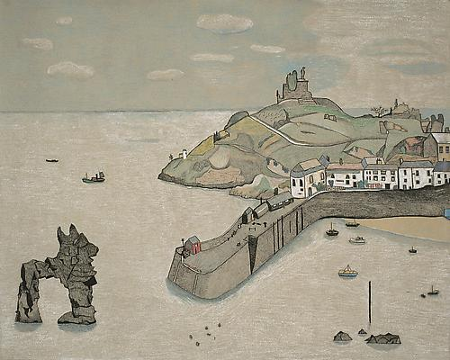 "Lucian Freud, ""Tenby Harbour"" 1944 Crayon on paper 16 1/4 x 20 1/2 inches (41.2 x 52 cm) National Museum of Wales © The Lucian Freud Archive Photo Courtesy National Museum of Wales Image"