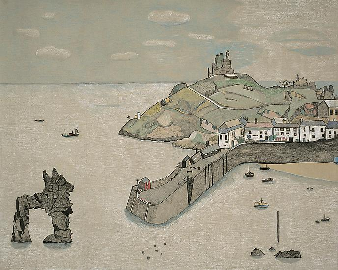 "Lucian Freud, ""Tenby Harbour"" 1944 Crayon on paper 16 1/4 x 20 1/2 inches (41.2 x 52 cm) National Museum of Wales © The Lucian Freud Archive Photo Courtesy National Museum of Wales"